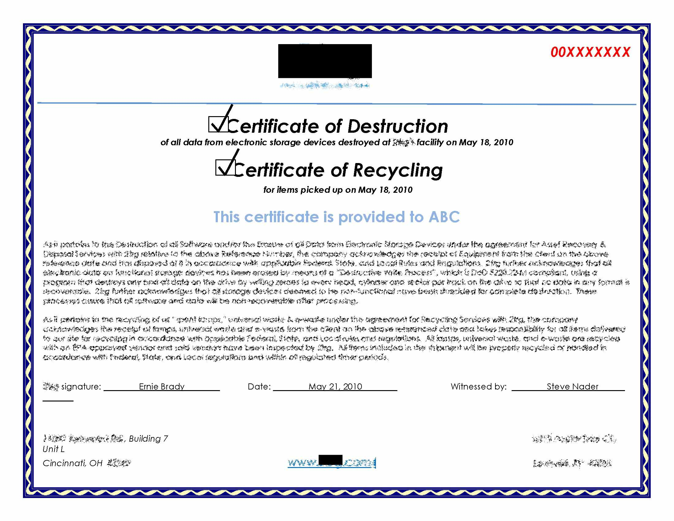 Hard drive destruction for copier mfp printers for Hard drive destruction certificate template